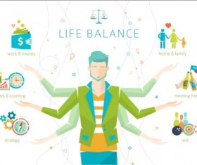 Work and life balance vector template 07