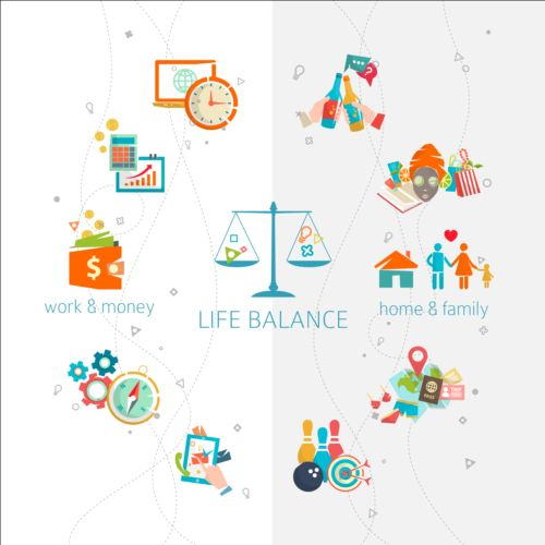Work and life balance vector template 09