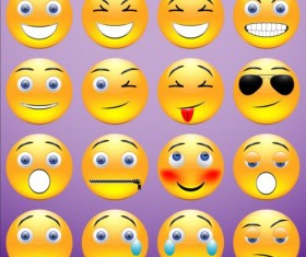 Yellow round emoticons Icons