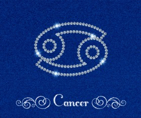 Zodiac sign Cancer with fabric background vector