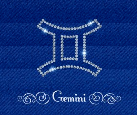Zodiac sign Gemini with fabric background vector