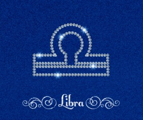 Zodiac sign Libra with fabric background vector