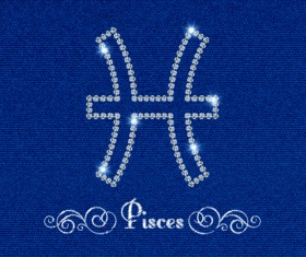 Zodiac sign Pisces with fabric background vector