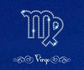 Zodiac sign Virgo with fabric background vector
