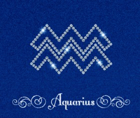 Zodiac sign aquarius with fabric background vector