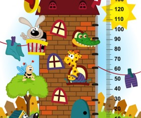 baby height measure cartoon styles vector 06