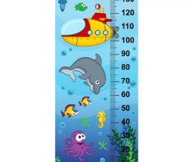 baby height measure cartoon styles vector 12