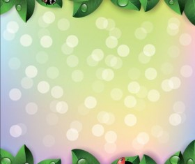 ladybug and leaves border with halation background vector