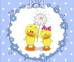 lovely cartoon animal with baby cards vectors 01