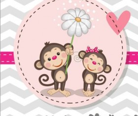 lovely cartoon animal with baby cards vectors 02