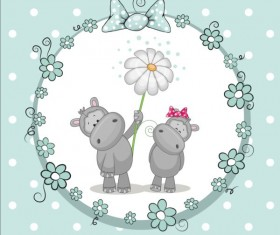 lovely cartoon animal with baby cards vectors 03