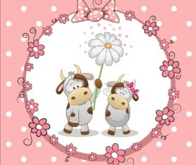 lovely cartoon animal with baby cards vectors 05