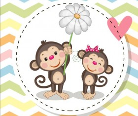 lovely cartoon animal with baby cards vectors 07