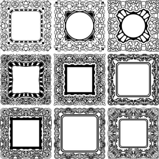 9 Kind decor frame vector set free download