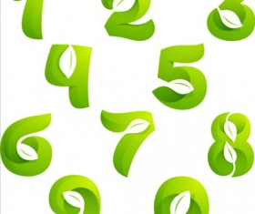 Abstract leaves numbers vector