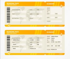 Airline tickets template design vector 03