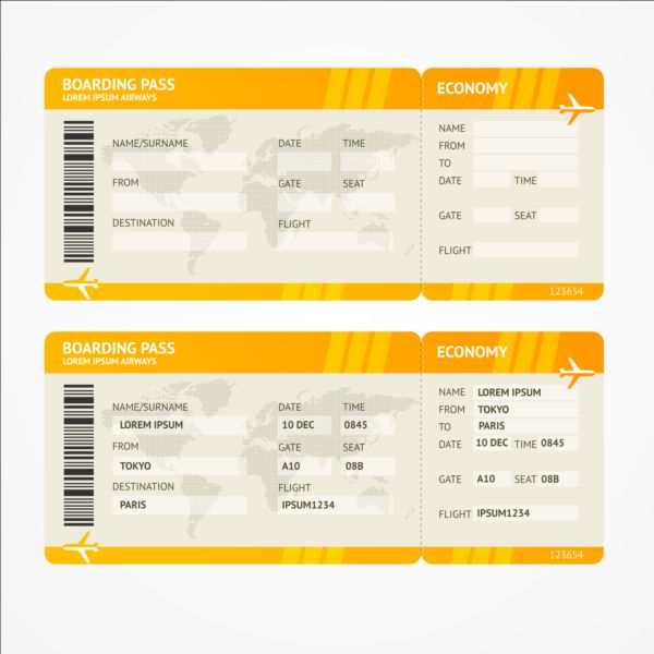 Airline Tickets Template Design Vector 03 Free Download