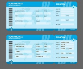 Airline tickets template design vector 04