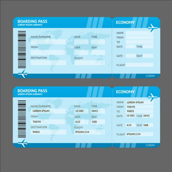 Airline tickets template design vector 04 Vector Life free download