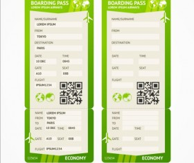 Airline tickets template design vector 05
