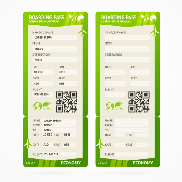 airline tickets template design vector 05 free download
