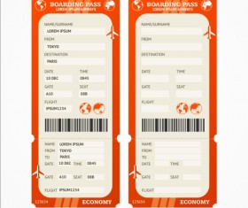 Airline tickets template design vector 06
