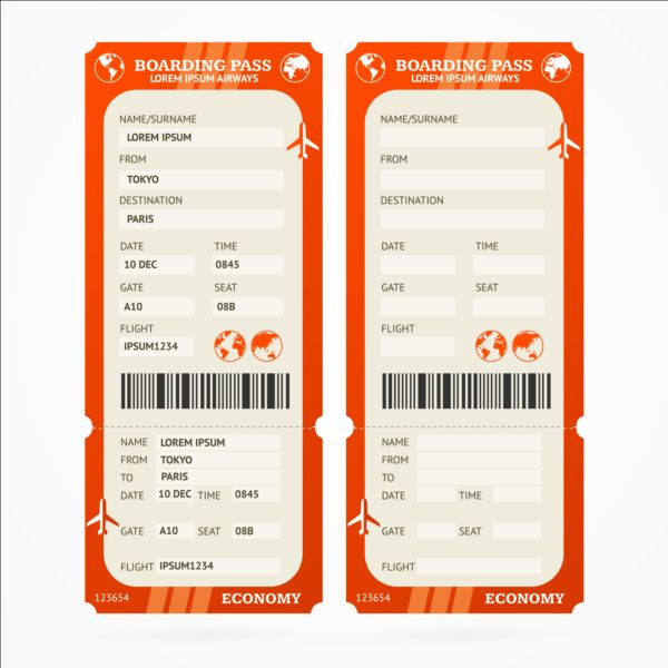Airline tickets template design vector 06 Vector Life free download