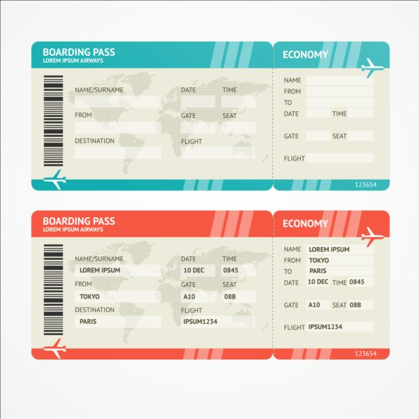 Airline Tickets Template Design Vector Free Download - Ticket design template photoshop