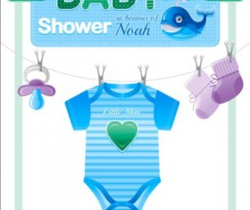 Baby shower card with clothes vector 01