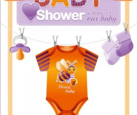 Baby shower card with clothes vector 05