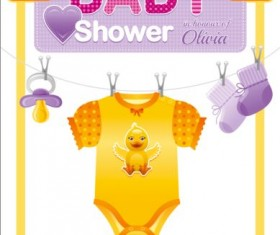 Baby shower card with clothes vector 08