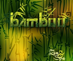 Bamboo background with spa vector 02