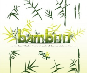 Bamboo background with spa vector 03