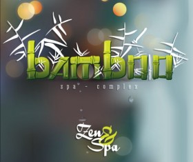 Bamboo background with spa vector 04