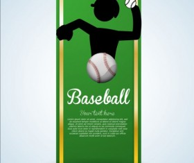Baseball green banner with people silhouette vectors set 17