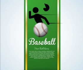 Baseball green banner with people silhouette vectors set 18