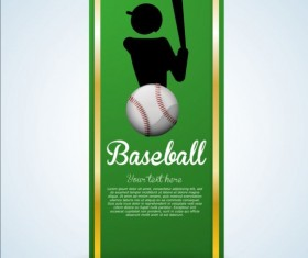 Baseball green banner with people silhouette vectors set 19