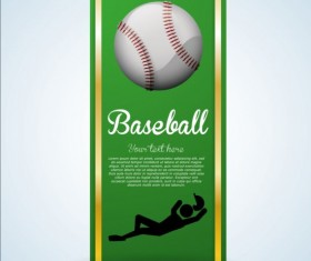 Baseball green banner with people silhouette vectors set 20