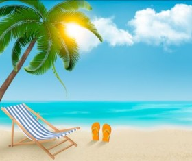 Beach chair and palms tree with travel background vector 01