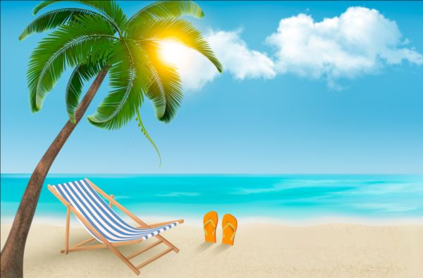 Beach chair and palms tree with travel background vector 01 beach chair and palms tree with travel background vector 01 voltagebd Gallery