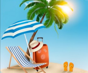 Beach chair and palms tree with travel background vector 02