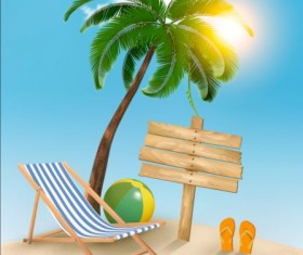 Beach chair and palms tree with travel background vector 03