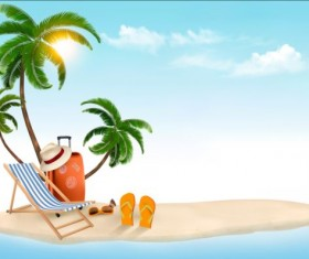 Beach chair and palms tree with travel background vector 04