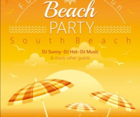 Beach party poster with umbrella vector