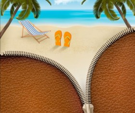 Beach travel with zipper background vector 01