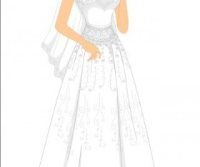 Beautiful brides with wedding dress vectors 02