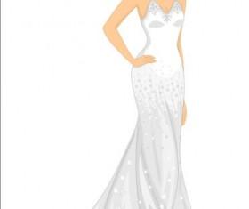 Beautiful brides with wedding dress vectors 03
