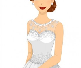 Beautiful brides with wedding dress vectors 05