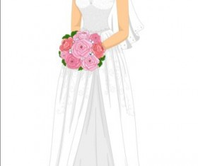 Beautiful brides with wedding dress vectors 06