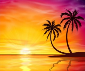 Beautiful sunset with palm trees background vector